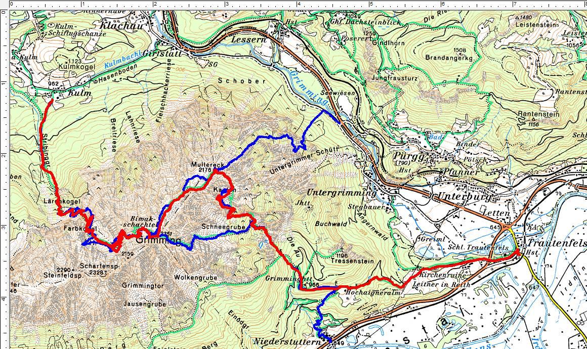 Rot ist die aktuelle Route. Blau die bisherigen 3 anderen Anstiegsrouten bei früheren Wanderungen.