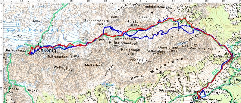 Rot unsere heutige Sommerroute - blau die Skitourenroute vom 27.03.2012