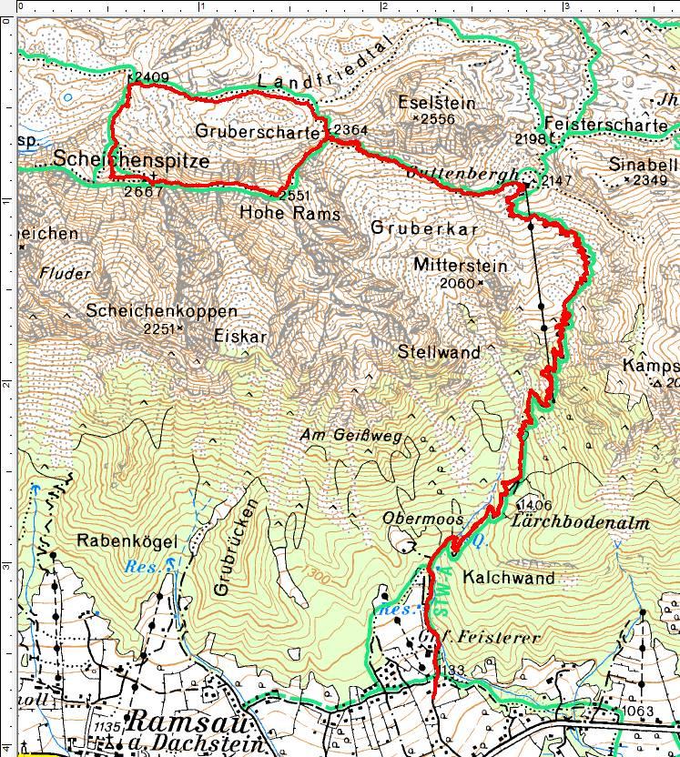 Unsere Wanderroute vom Ghf. Feisterer in Ramsau am Dachstein über das Guttenberghaus zur kleinen Runde über die Hohe Rams und die Scheichenspitze