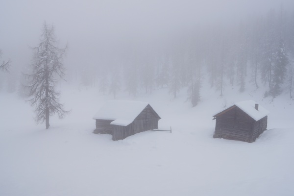 Dichter Nebel und schlechte Sicht bei der Stoderalm