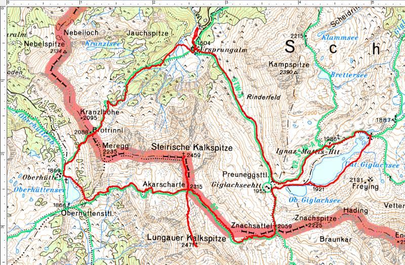 Unsere Wanderroute entgegen dem Uhrzeigersinn: Ursprungalm - Brotrinnl - Oberhüttensee - Akarscharte - Steirische Kalkspitze - Lungauer Kalkspitze - Znachsattel - Giglachseehütte - Ignaz-Mattis-Hütte - Preuneggsattel - Ursprungalm