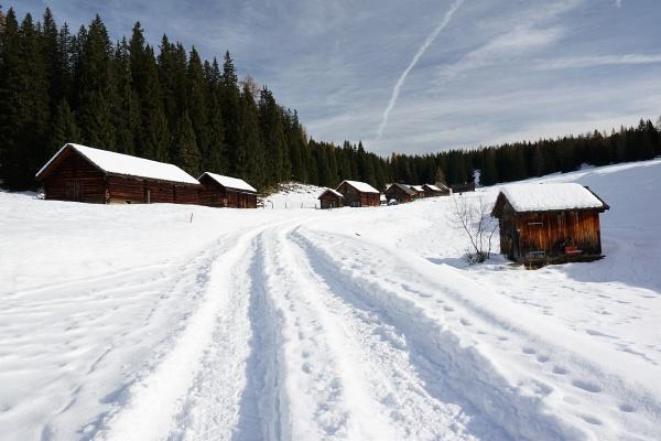 Tiefe Fahrzeugspuren auf der Viehbergalm.