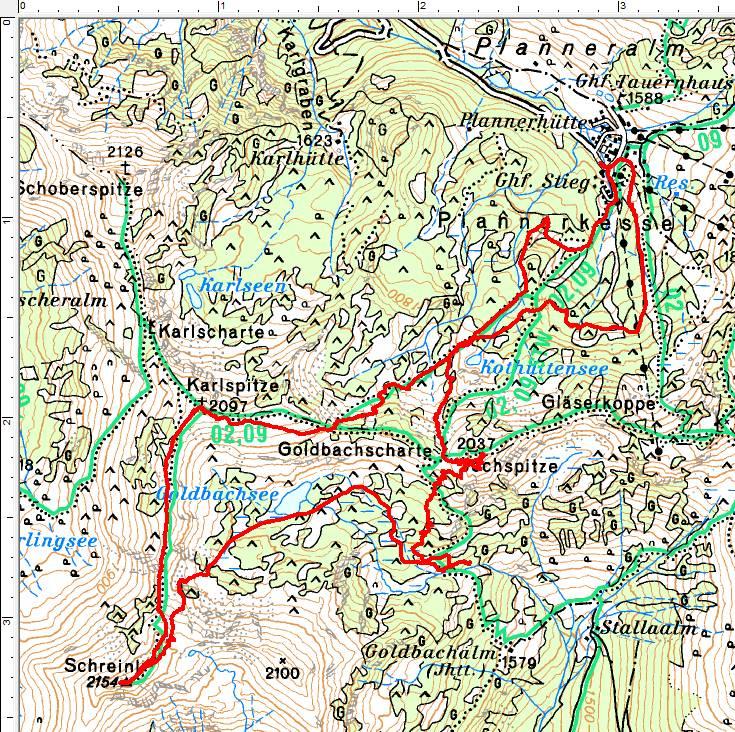 Unser Routenverlauf entgegen dem Uhrzeigersinn: Von der Planneralm auf die Karlspitze und weiter zum Schreinl. Abfahrt zum Goldbachsee und Wiederaufstieg über die Goldbachscharte auf die Jochspitze. Danach die Abfahrt zurück zum Ausgangspunkt.