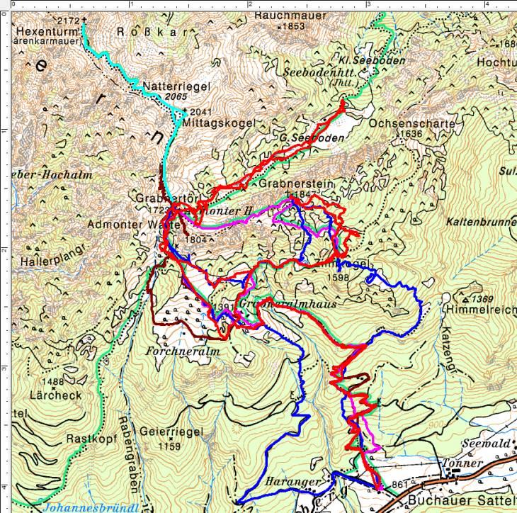 Bisherige Wandertouren im Umfeld von Grabneralm und Admonter Haus. Rot die aktuelle Schneeschuhtour - blau die Schneeschuhtour vom Dezember 2008.