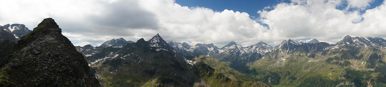 Gipfelpanorama in der Schobergruppe (Klick zur Vergrößerung)