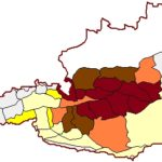 Meine persönliche Gebirgsgruppen-Landkarte: Dunkelrot = fast alle Wandergipfel bestiegen, Braun = die meisten Wandergipfel besucht, lachsfarben = mehr als 5 Touren absolviert, kräftig-gelb= bis 5 Touren absolviert, hellgelb = bisher 1 Bergtour