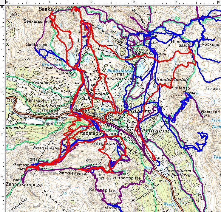 Rot sind meine 3 Skitouren der abgelaufenen Wintersaison, blau frühere Skitouren und violett kennzeichnet meine Sommer-Wanderungen um Obertauern.
