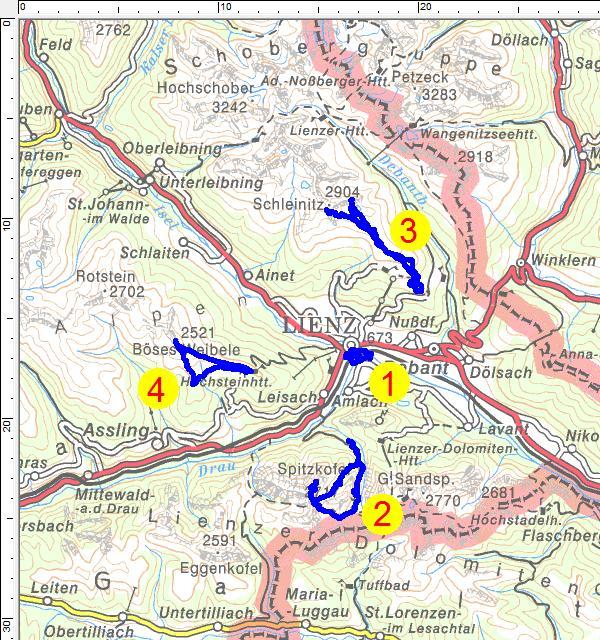 Unsere Wandertouren in und um Lienz: 1=Lienzer Stadtbummel und Wanderwege, 2=Spitzkofel, 3=Schleinitz, 4=Böses Weibele