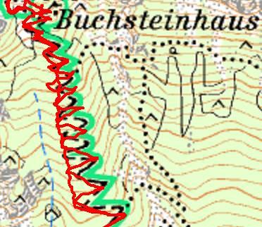 Die Kehren zum Buchsteinhaus - mit der Abkürzung beim Abstieg im linken Bereich.