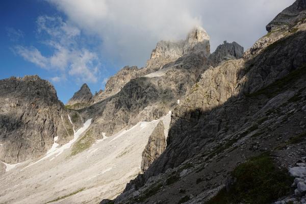 Aufstieg zum Steiglpaß mit bestem Ausblick zur Bischofsmütze