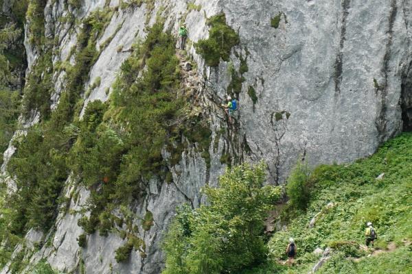 Einstieg in den Donnerkogel-Klettersteig