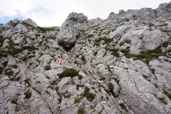 Vom Schoderkreuz auf der Nordseite in felsigem Gelände bergwärts