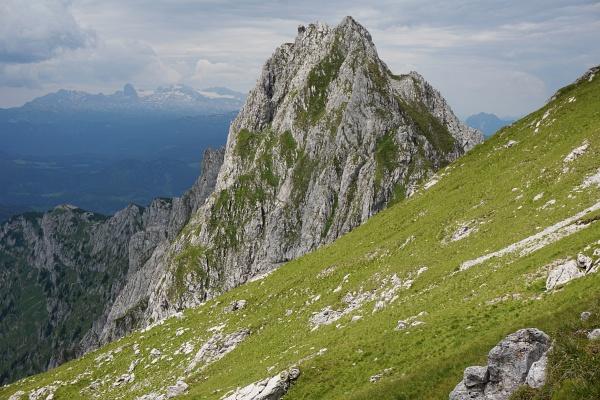 Rückblick zum Zwölfer bei der Wanderung über den Grimmingpferd-Bauch