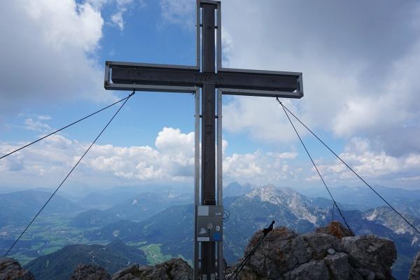 Beim Gipfelkreuz am Großen Buchstein