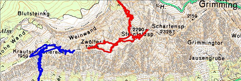 Wanderrouten auf das Grimmingpferd (Blau-2006 mit GPS-Ausfahrer, Rot=2018)