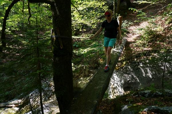 Die letzte Hürde. Ein Baumstamm über dem tosenden Wasserfall.