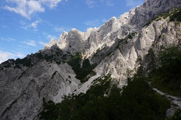 Im Vorjahr sind wir ungeplant fast bis zum Klettereinstieg in Bildmitte hinauf gekommen