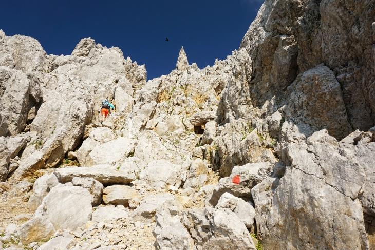 Drahtseile, Trittbügel und teilweise leichtes Klettergelände führen auf die Ellmauer Halt.