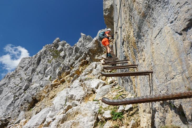 Ingrid beim Abstieg in der Jägerwand.