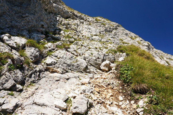 Auch der Abstieg von der Planspitze wartet mit einigen felsigen Abschnitten auf.