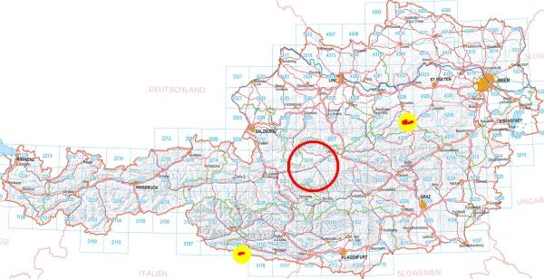 Von Gröbming kommt man in 2 1/2 Stunden schon ganz schön weit rum. Gelb markiert die beiden Wandergebiete Ötscher (rechs oben) und Wolayersee (links unten).