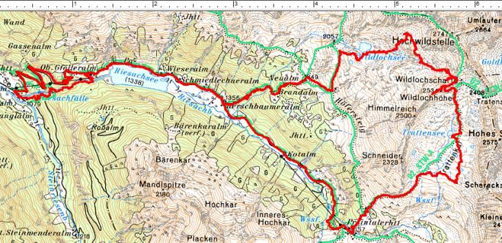 Weglose Route über den Wildlochsee auf die Wildlochhöhe