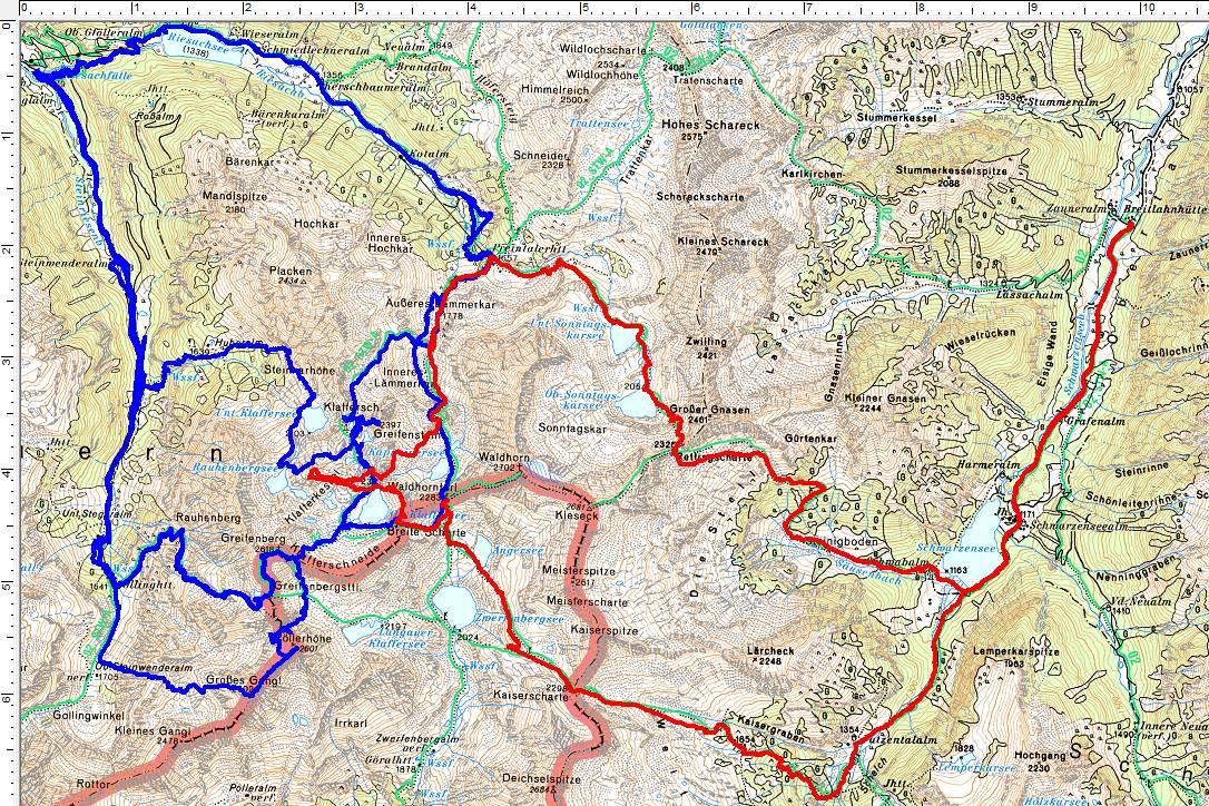 Heute auf der fünften Route (rot) in den Klafferkessel
