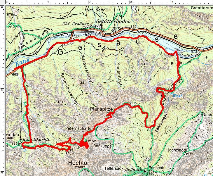 Heftige Ausschläge und Verwirrungen des GPS-Geräts am Peternpfad
