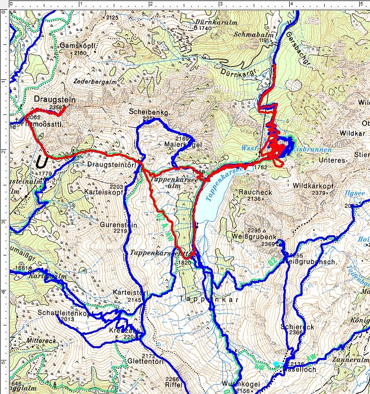 Irgendwie habe ich das Gefühl, dass sich der Wegverlauf von der Schwabalm zum Tappenkarsee nach jedem Murenabgang leicht verändert. Mag aber auch an den Ausfällen der GPS-Aufzeichnung in der Felsabschattung liegen. (Rot=aktuelle Tour; Blau=frühere Wanderungen).
