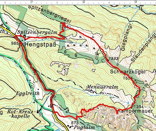 Wanderrunde entgegen dem Uhrzeigersinn vom Hengstpaß über Kampermauer und Schwarzkogel