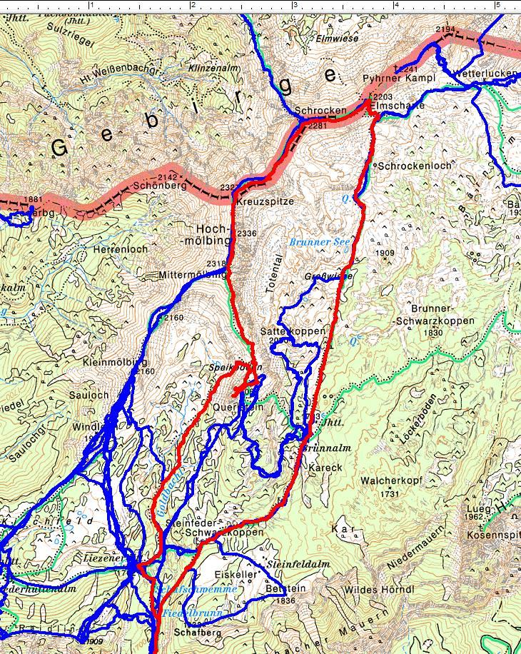GPS-Aufzeichnungen gibt es erst seit Ende 2005. Rot erkennt man den oberen Abschnitt der aktuellen Tour über die Hochmölbinggruppe entgegen dem Uhrzeigersinn.