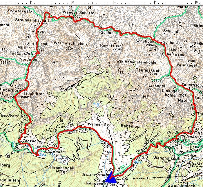 Der Routenverlauf im Jahr 2018 im Uhrzeigersinn: Aus der Wengerau bei Werfenweng über die Werfener Hütte zur Edelweißhütte am hügeligen Tennengebirgs-Plateau. Von dort über die Tauernscharte zur Hackel-Hütte und wieder hinab zum Ausgangspunkt.