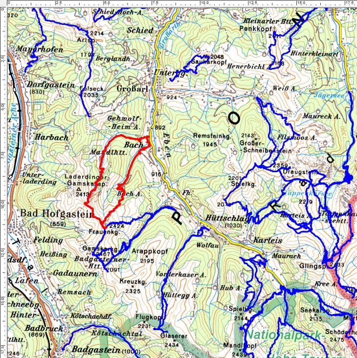Meine bisherigen Touren über dem Großarltal - rot die aktuelle Wanderung auf Tennkogel und Frauenkogel.
