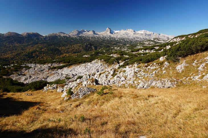 Grandioser Ausblick über das Dachsteingebirge bis zu dessen höchsten Gipfeln.