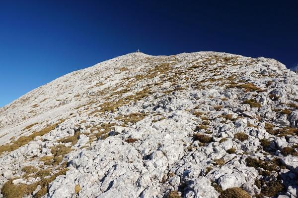 Nach der drahtseilgesicherten Felsrinne - auf Gehgelände zum Gipfelkreuz am Hochkesselkopf.