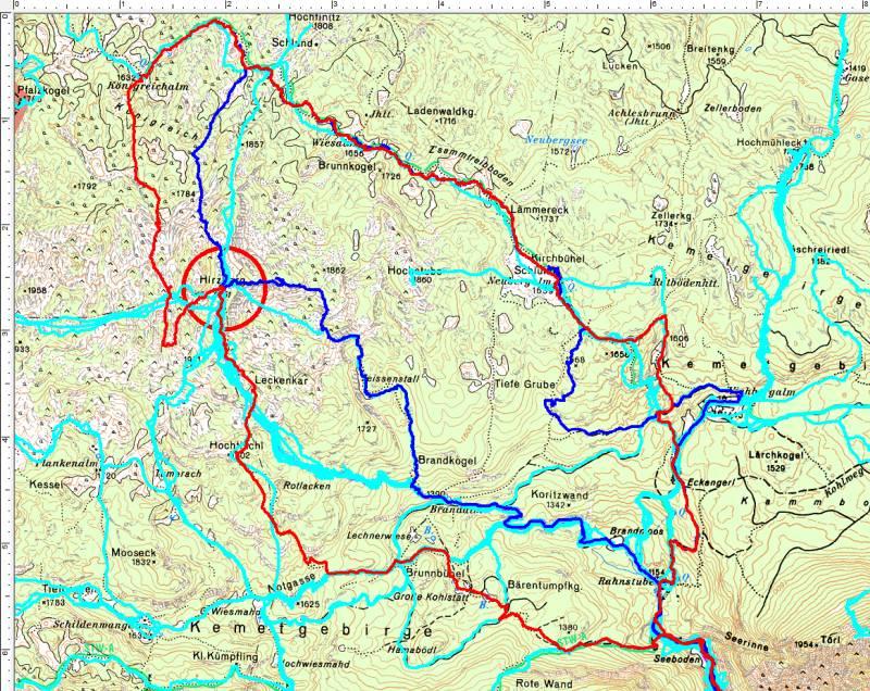Der Hirzberg (roter Kreis) - kein Unbekannter. Alle bisherigen Besteigungen haben aber mit Schneeschuhen oder Tourenski stattgefunden. Nun bin ich endlich auch im Sommer/Herbst oben gewesen.