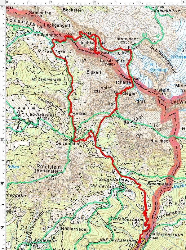Wanderroute (Runde entgegen dem Uhrzeigersinn): Von der Bachlalm in die Windlegerscharte und weiter am Linzer Weg Richtung Reissgangscharte. Durch Zufall auf den Hochkesselkopf.