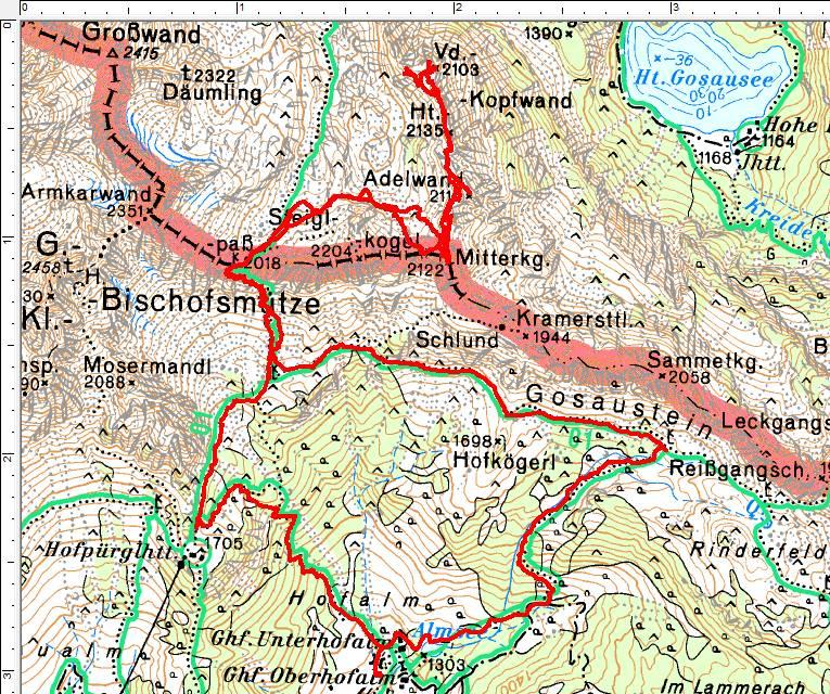 Unsere Wanderroute von den Hofalmen über den Steiglpass und zurück über das Rinderfeld.