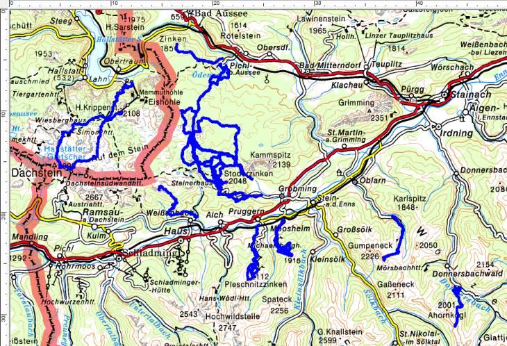 Skitouren im Jänner und Februar 2019. Hauptsächlich Dachsteingebirge und Schladminger Tauern und ein bisschen Rottenmanner und Wölzer Tauern.