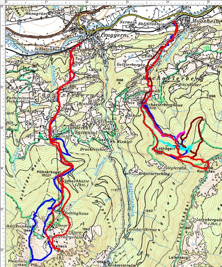 Vom Tal weg auf die Gipfel von Kochofen, Kalteck und Pleschnitzzinken.