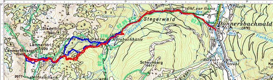 Skitourenroute von Donnersbachwald auf den Lämmertörlkopf. Rot die aktuelle Tour, Blau die Tour von 2006.