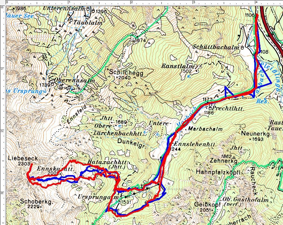 Rot=Tourenverlauf 2019. Blau meine Route von 2007.