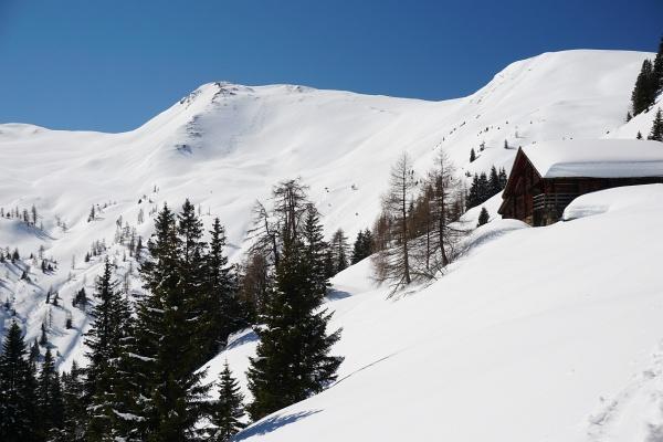Von der Oberharbachalm gelangt man über einige Kehren zur Tofernalm, wo man das Abfahrtsgelände vom Throneck (links) bereits sehr gut einsehen kann.