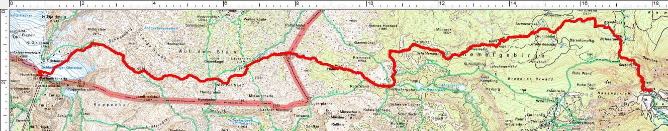 Abfahrtsroute vom Hunerkogel über die Grafenbergalm und durch die Notgasse nach Gröbming-Winkl