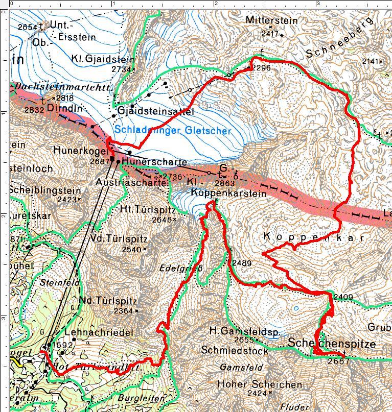 Schiroute vom Hunerkogel durch das Koppenkar auf die Scheichenspitze mit anschließender Abfahrt durch das Edelgrieß.