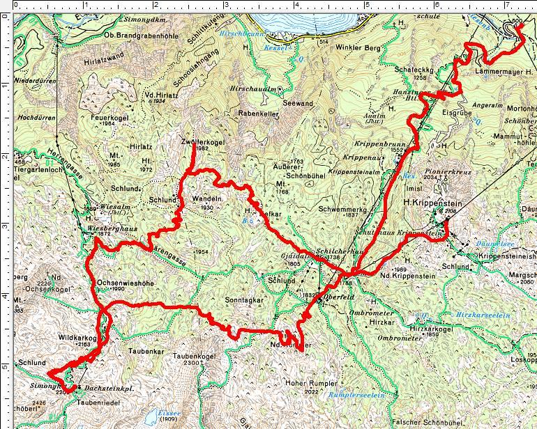 Unsere Route vom Krippenstein zum Zwölferkogel. Von dort hinauf zur Simonyhütte und nach einer kurzen Abfahrt neuerlicher Anstieg auf den Niederen Rumpler.