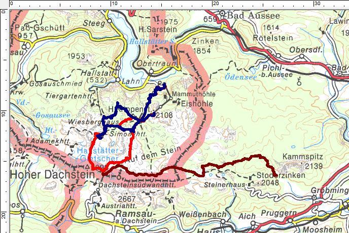 3 Skitouren am Dachsteinplateau: Rot=Rumplertour, Blau=Zwölferkogel, Dunkelrot=Abfahrt vom Hunerkogel durch die Notgasse