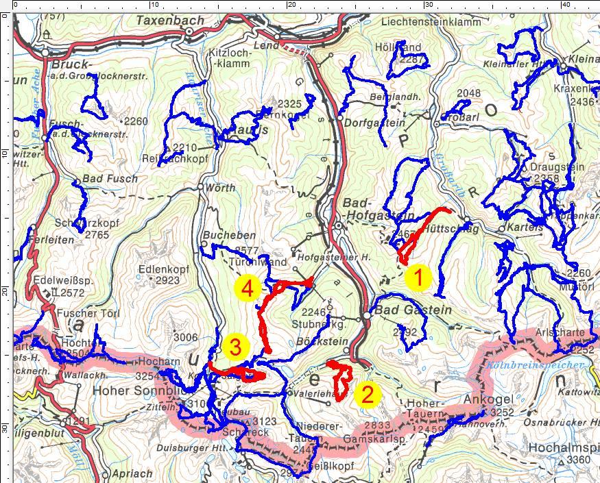 Meine bisherigen Touren in der Ankogelgruppe und Goldberggruppe. Rot sind die 4 aktuellen Skitouren eingezeichnet.