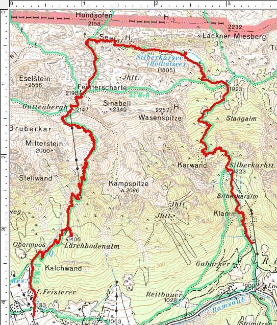 Unsere Wanderroute im Dachsteingebirge entgegen dem Uhrzeigersinn