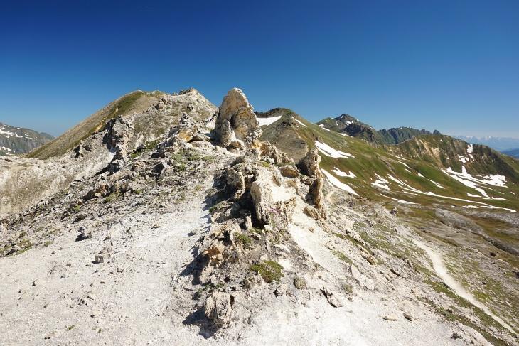 Einsamer, schöner Steig auf Kendlkopf (links), Baumgartlkopf (Bildmitte) und Hirzkarkopf (rechts).